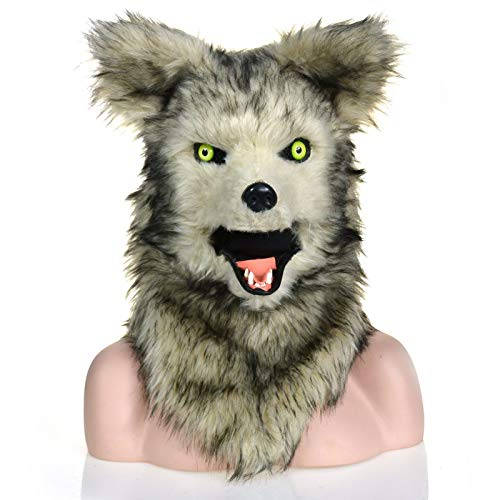 Beixi Moving Mouth Mask Animal Wolf Mask Animal Carnival Fur Wolf Head Handmake Wolf Headgear for Hollween Masquerade (Color : Grey, Size : 2525)