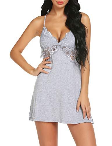 (Gladiolus Sexy Lingerie Lace Modal Sleepwear Chemises V-Neck Babydoll for Women Grey L)