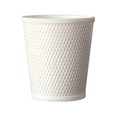 Lamont Home Carter Round Wicker Waste Basket, White