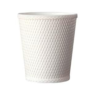 Lamont home carter round wicker waste basket white - White wicker bathroom accessories ...