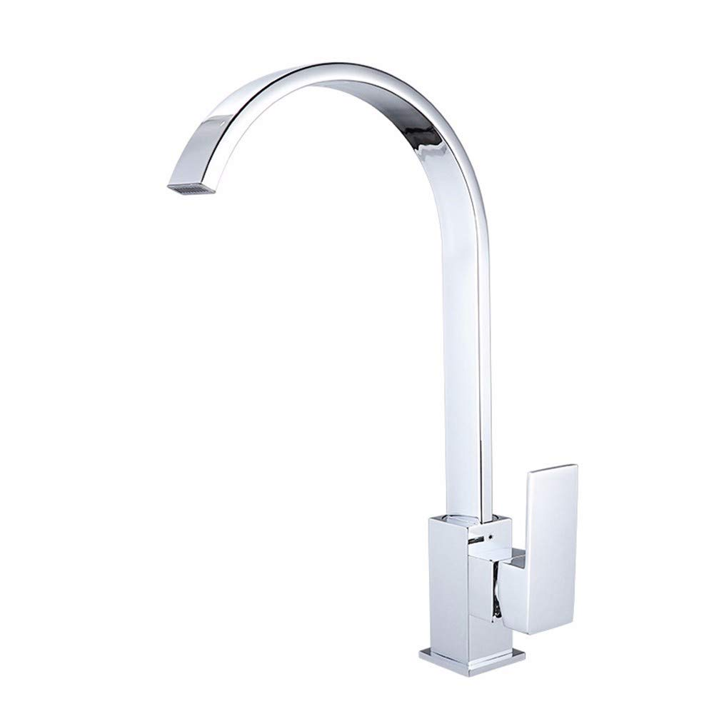 Kitchen Sink Taps,Kitchen Sink Single Hole Single Handle Polished Plating Brass Bathroom Mixer Taps Medium High Arc Swivel Spout Classical Kitchen Faucet