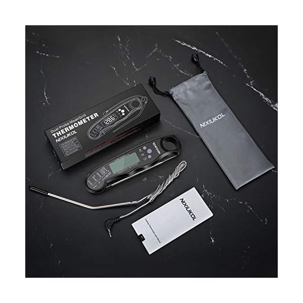 NIXIUKOL Termometro Cucina Digitale Lettura Istantanea Termometro Barbecue con 2 Acciaio Inossidabile Sonda, Display LCD… 7
