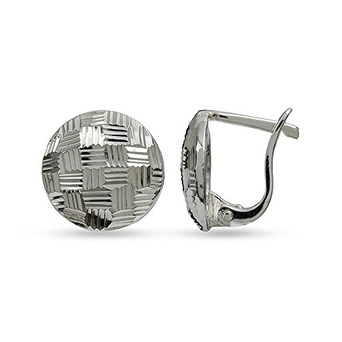 LeCalla Sterling Silver Jewelry Half Round Post With Click Lock Earrings for -