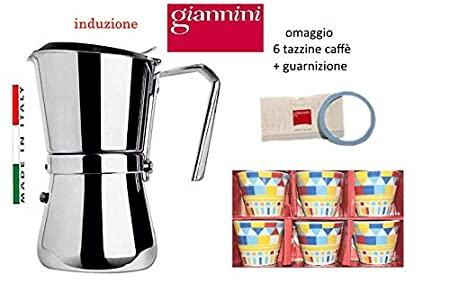 Paganohome Giannini - Cafetera de inducción 6/3 Taza de Acero ...