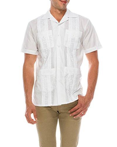 TrueM Men's Short Sleeve Cuban Guayabera Shirts (XL, White) - Caribbean Long Sleeve Shirt