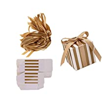 MonkeyJack 50pcs Vintage Strips Candy Sweet Box with Ribbon Wedding Favor Ceremony Supplies - Gold