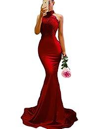 Women's Lace Appliques Illusion Long Mermaid Skirt Bridesmaid Prom Dress