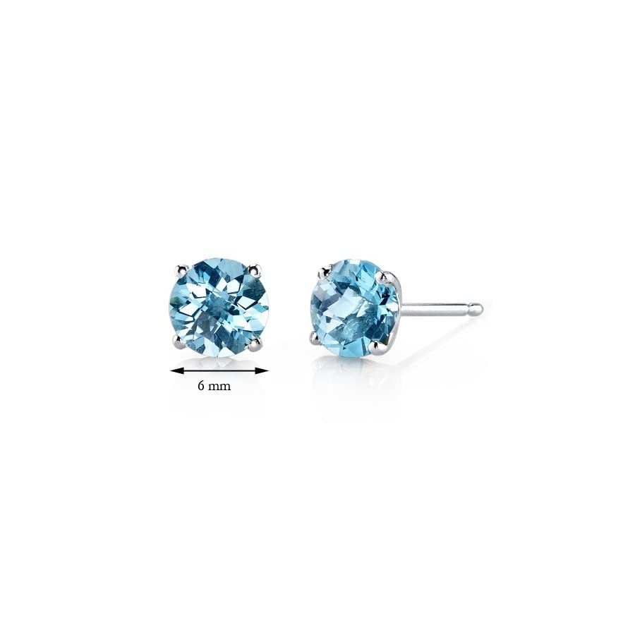 14 Karat White Gold Round Cut 2.00 Carats Swiss Blue Topaz Stud Earrings