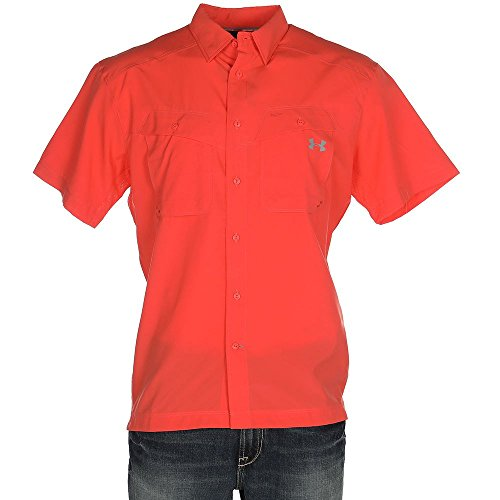Under Armour Outerwear Men's Tide Chaser Short Sleeve Shirt, Vermillion/Steel, (Button Down Stretch Woven Shirt)