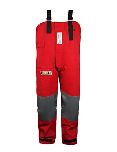 Navis Marine Fishing Bib Pants Sailing Foul Weather Gear Trousers Oilskin Overall Waterproof Breathable Windproof Durable...(Red, L) ()