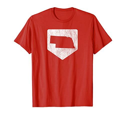 (Cool Nebraska Baseball Home Plate State Outline Retro Shirt)