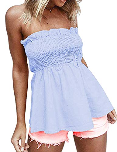 (MISSACTIVER Women Sexy Pleated Tube Tops Cute Frill Strapless Peplum Tops Blue)