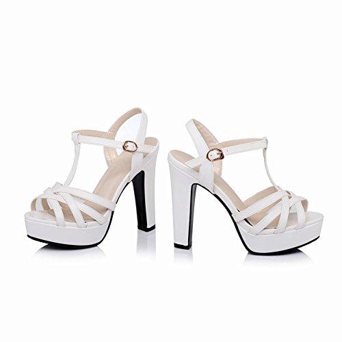 Carolbar Women's Fashion Charm T-Strap Block High Heel Platform Sandals White h4rZ9or1jL
