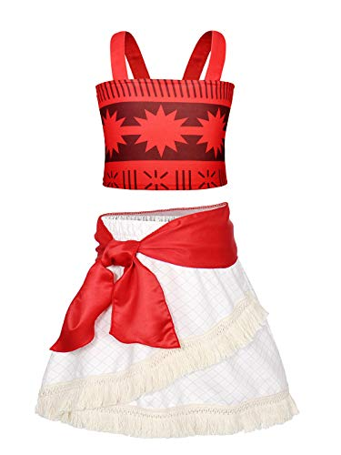 HenzWorld Skirts for Girls Tank Tops Moana Costume Dress Up Princess Birthday Party Cosplay Tassel Sash Clothes Set 5-6 Years