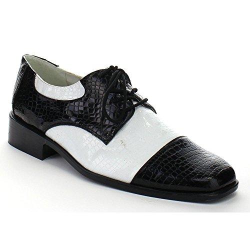 Sunny&Baby Men's Shoes Disco Booties Lace Up Dress Pump Wingtip Patent Leather Wing Tip Classic Black White Comfort Upper ( Color : Blk-Wht Pat , Size : L (Mens Disco Shoes)
