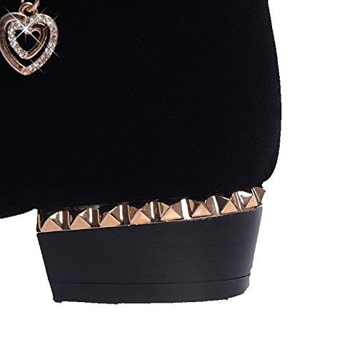 VogueZone009 Damen Nubukleder Eingelegt Ziehen auf Niedriger Absatz Stiefel mit Kette Schwarz