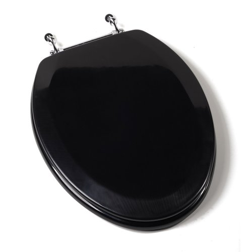 Comfort Seats C1B4E2-90CH Deluxe Molded Wood Toilet Seat with Chrome Hinges, Elongated, Black (Elongated Black Toilet Seat)