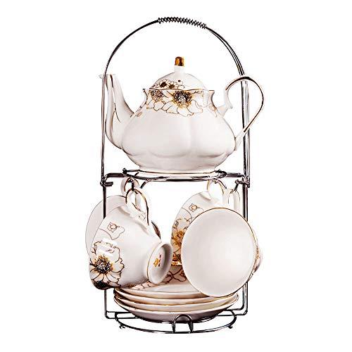 HAYC 9 pieces of European-style ceramic tea set, retro coffee cup set with metal shelf, porcelain tea cup set, the best gift (Golden jade) ()