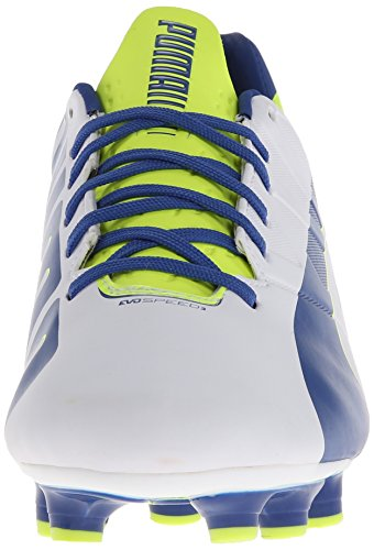 PUMA Women's Evo Speed 3.3 Firm Ground Soccer Shoe,White/Snorkel Blue/Fluorescent Yellow,8 B US by PUMA (Image #4)