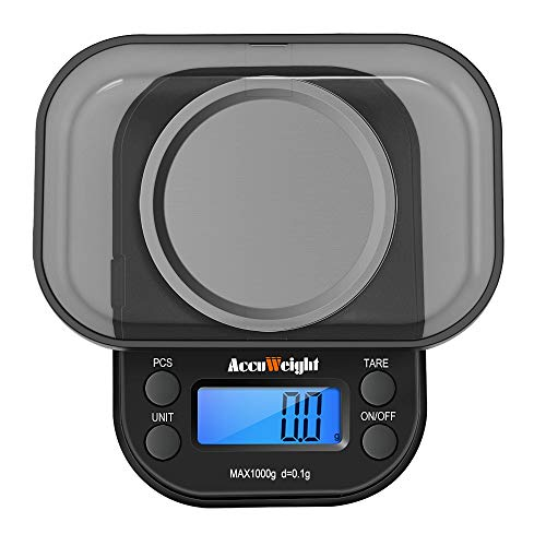 ACCUWEIGHT 255 Digital Pocket Scales, Jewelry Scales, Portable Mini Electronic Weighting Precision Scales, Multifunctional Scales with Backlight LCD Display, Tare and PCS Features, 1000g/ 0.1g