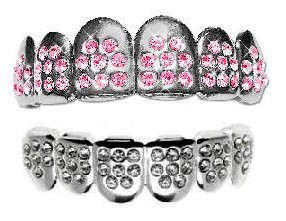 Hip Hop Platinum Silver Plated Removeable Mouth Grillz Set (Top & Bottom) Pink Ice