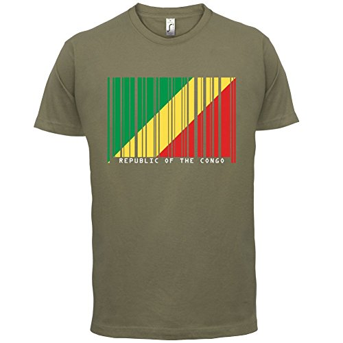 Republic of the Congo / Republik Kongo Barcode Flagge - Herren T-Shirt - Khaki - S