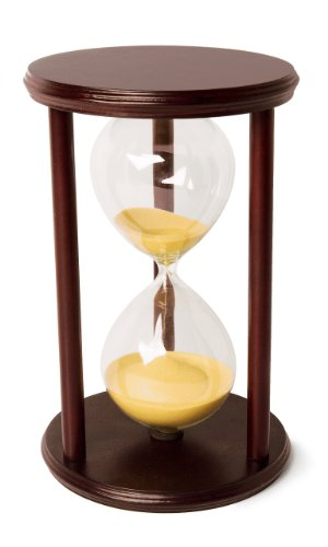 Hourglass Sand Timer - 60 Minute 1 Hour Wood Sand Timer for Kitchen, Office, School and Decorative Use - Cherry Finish with Real Beach Color Sand (Large Hourglass)