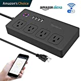 WiFi Smart Power Strip, Tonbux Surge Protector with 4 USB Charging Ports and 4 Smart AC Plugs for Multi Outlets Power Socket Extension Cord Works with Amazon Echo & Google Home (Black)