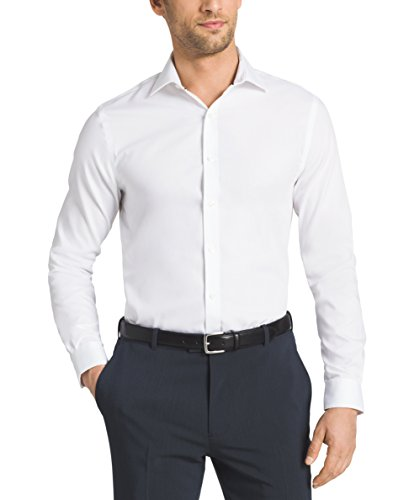 Tommy Hilfiger Mens Non Iron Slim Fit Solid Spread Collar
