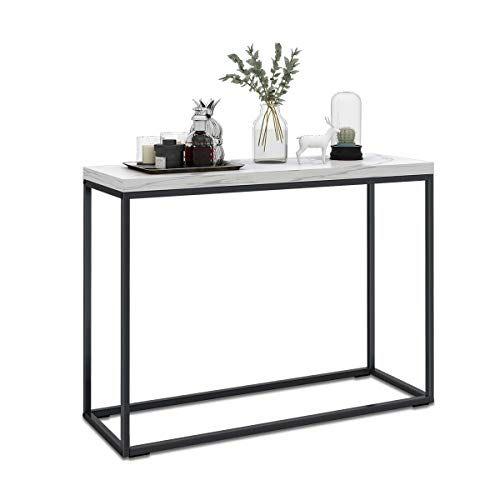 WLIVE Modern Console Table for Entryway, Faux Marble Print Top Narrow Foyer Hall Table with Metal Frame (Foyer Metal Table)