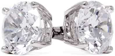 Diamond Studs, Diamond Stud Earrings for Women & Men, 14k White Gold, 2 ct Round Cut Diamond Earrings, Screw Back Earrings for Men & Women