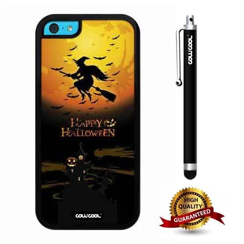 iphone 5C Case, Halloween Case, Cowcool Ultra Thin Soft Silicone Case for Apple iphone 5C - Happy Halloween Wich