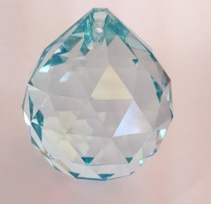 40mm Chandelier Crystal Antique Green (Light Aqua) Ball Faceted Prism Feng Shui Aquamarine Crystal Chandelier