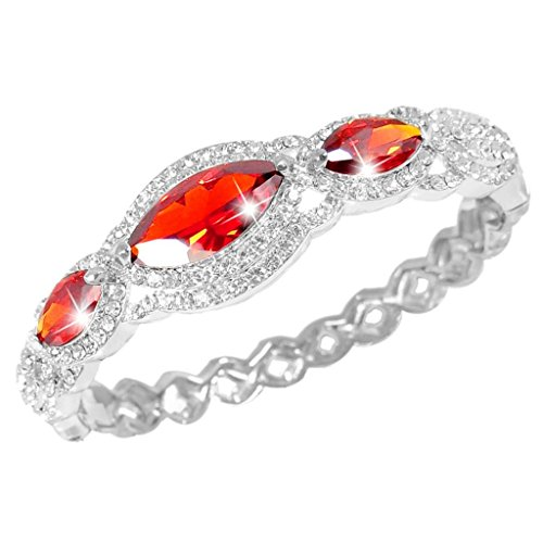 (EVER FAITH Women's Austrian Crystal Zircon Drop Marquise-Shape Bangle Bracelet Ruby Color Silver-Tone)