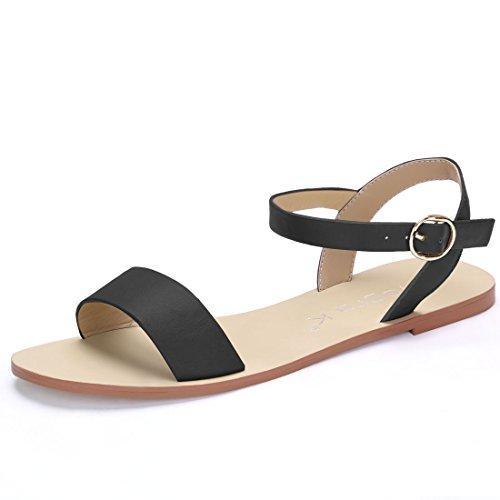 Allegra K Women's Ankle Strap Flat Sandals Black YnfS91d