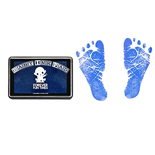 - Baby Hand and Footprint Kit by Forever Fun Times | Get Hundreds of Detailed Prints with One Baby Safe Ink Pad | Easy to Clean, and Works with Any Paper or Card | Clean and Safe (Blue)