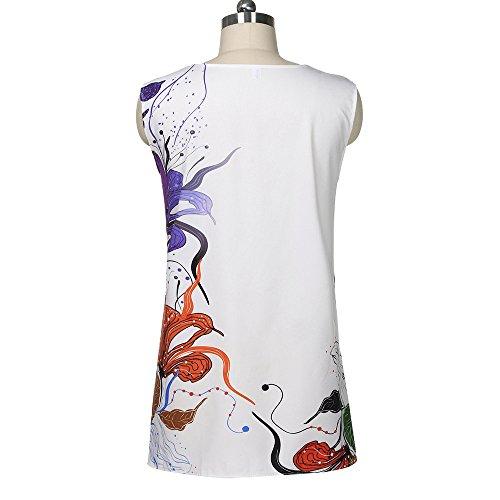 TWGONE Sleeveless Dresses For Women Summer Floral Vintage Boho Beach Printed Short Mini Dress(XX-Large,White) by TWGONE (Image #3)