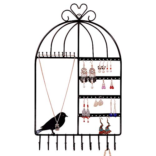 Wall Mount Earring and Necklace Holder Jewelry Display Bracelets Organizer Hanger with 40 Holes 20 Hooks