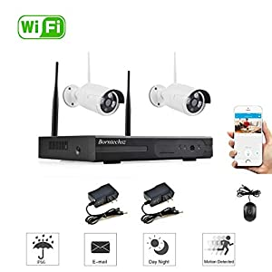 2CH HD Wireless Video Security Camera System (WiFi NVR Kits)-2PCS 1.0MP Wireless Waterproof IP Cameras,Plug and Play,65FT Night Vision