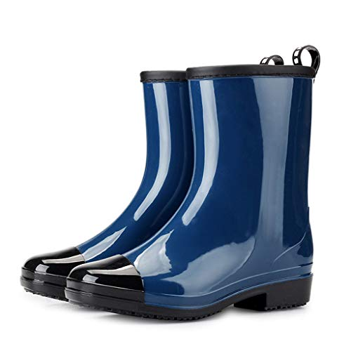 Women's Short Rain Boots Waterproof Slip On Ankle Booties Buckle Round Toe Shoes High Tube Boot, Fire And Safety Shoes | Long Outdoor Winter Stretcher Rain Thursday Company (Blue 40)