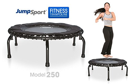 JumpSport 250 | Fitness Trampoline, In-Home Rebounder | Home Cardio Exercise | Safely Cushioned Bounce | Long Lasting Premium Bungees | Top Rated for Quality & Durability | Music Workout Video Incl. by JumpSport