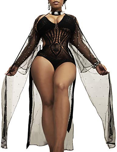 f4cbc00b3a XAKALAKA Women Sexy Mesh See Through Kimono Belted Cover Up Split Lingerie  S-XL