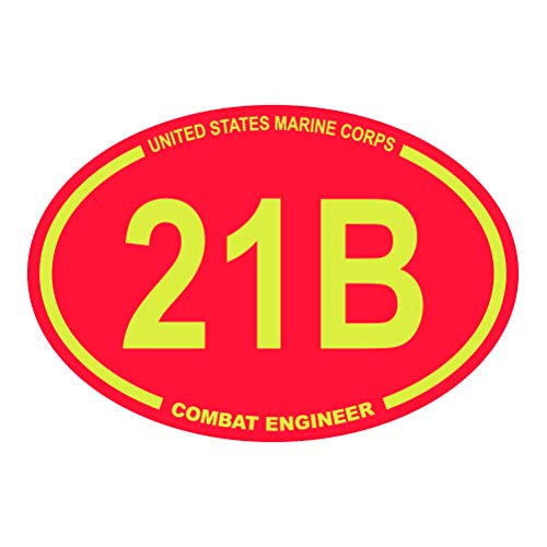 United States Marine Corps MOS 21B Combat Engineer Red Oval - Color Sticker - Decal - Die Cut - Size: 1.25