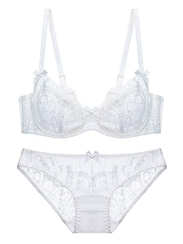 Women Hollow Out Bra and Panty Set Sexy Lace Exotic Lingerie Set Soft Cup Bra and Cotton Panty 32B White