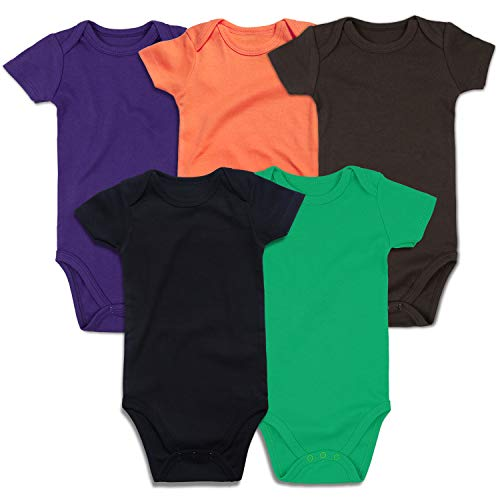 Green Months - ROMPERINBOX Unisex Solid Multicolor Baby Bodysuits 0-24 Months (Black Orange Purple Brown Green Short Sleeve 5 Pack, 0-3 Months)