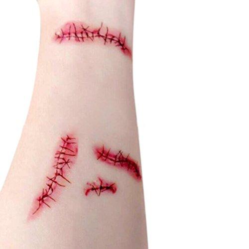 Elevin(TM)2017 Horror Realistic Fake Bloody Wound Stitch Scar Scab Waterproof Temporary Tattoo Sticker Halloween Masquerade Prank Makeup Props -