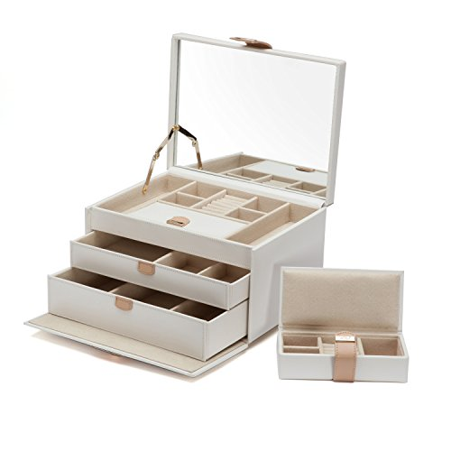WOLF Chloé Medium Jewelry Box, 8.25x11x6.25, Cream