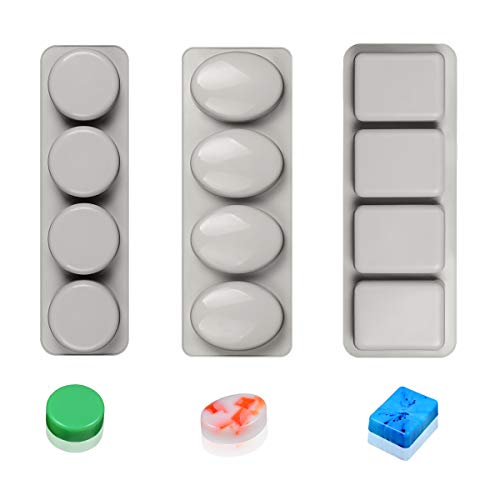- Silicone Soap Molds Round Oval & Rectangle Silicone Mold-3pcs Soap Molds for Soap Making and Candle