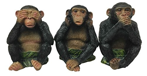 Ebros Whimsical See Hear Speak No Evil Monkeys Three Wise Apes Of The Jungle Figurine Set of 3 Animal Rainforest Sculptures Monkey Statue Fairy Tale