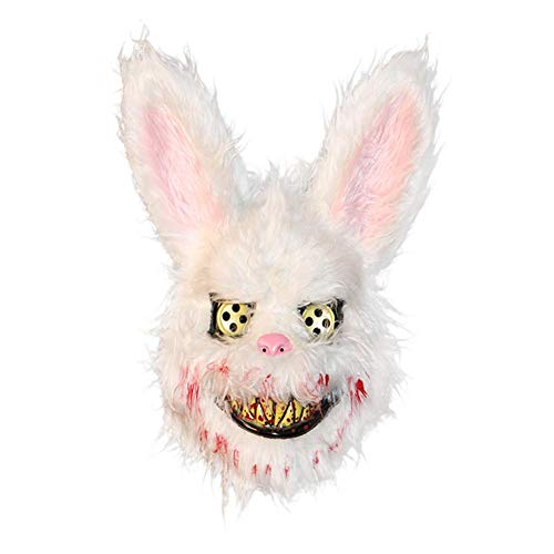 boomprospect Halloween Mask Realistic Bloody Killer Rabbit Mask Halloween Plush Cosplay Mask Halloween Costume Party Props Masks for Kids Adults